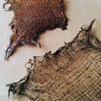 Fabric pieces with Rusty Powder