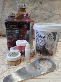 Powertex, stone art, pigments, varnish and bottle opener