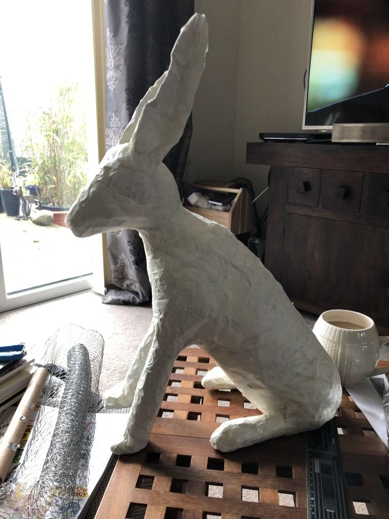 Powertex rabbit from milk container