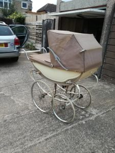 Vintage pram to alter into Gothic fantasy pram project with Powertex