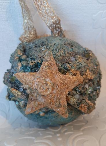 Powertex Christmas bauble by Jinny Holt