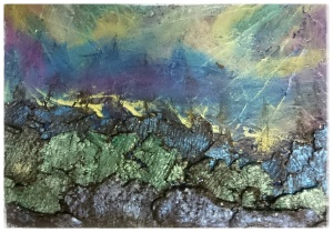 Powertex Clay added to canvas for Northern Lights Blog