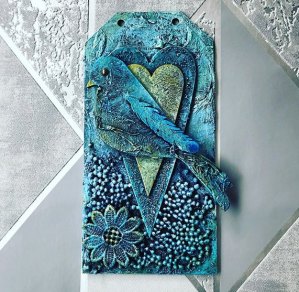 Blue birds Mixed media tag by Tracey Evans