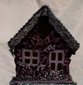 Use Powertex with fabric and embellishments to decorate the birdhouse
