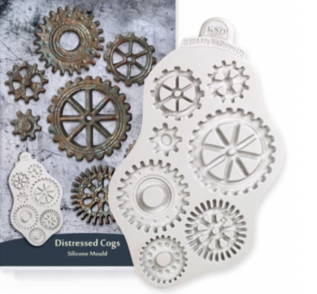 Distressed cogs mould from Katy Sue
