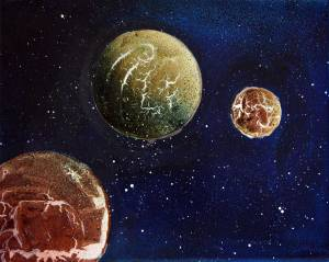 Powertex planets canvas art by Kore Sage using Blue Powertex and Bister sprays