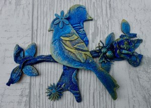 Blue birds mixed media by Tracey Evans