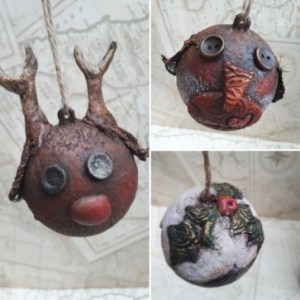 Reindeer, robin and Christmas pudding baubles by Anna Howlett