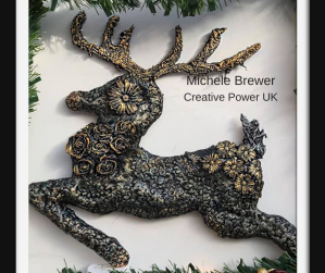 Michele Brewer Christmas Reindeer Powertex Decorations