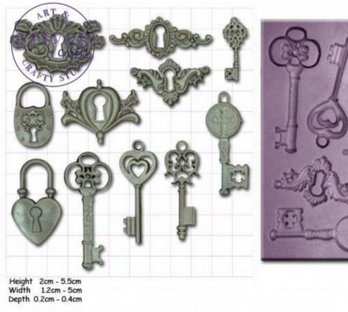 Artyco Steampunk Keys, Locks and Keyplates Mould from Powertex UK