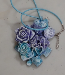 Crafting ideas for children. Powertex jigsaw necklace by Jill Cullum