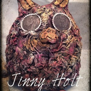 Powertex owl animal sculpture by Jinny Holt