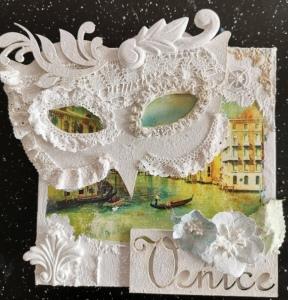White Powertex venetian carnival mask on canvas
