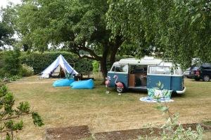 Camper van and tent