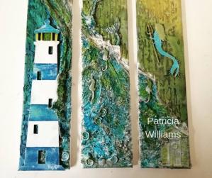 Patricia Williams lighthouse Powertex triptych