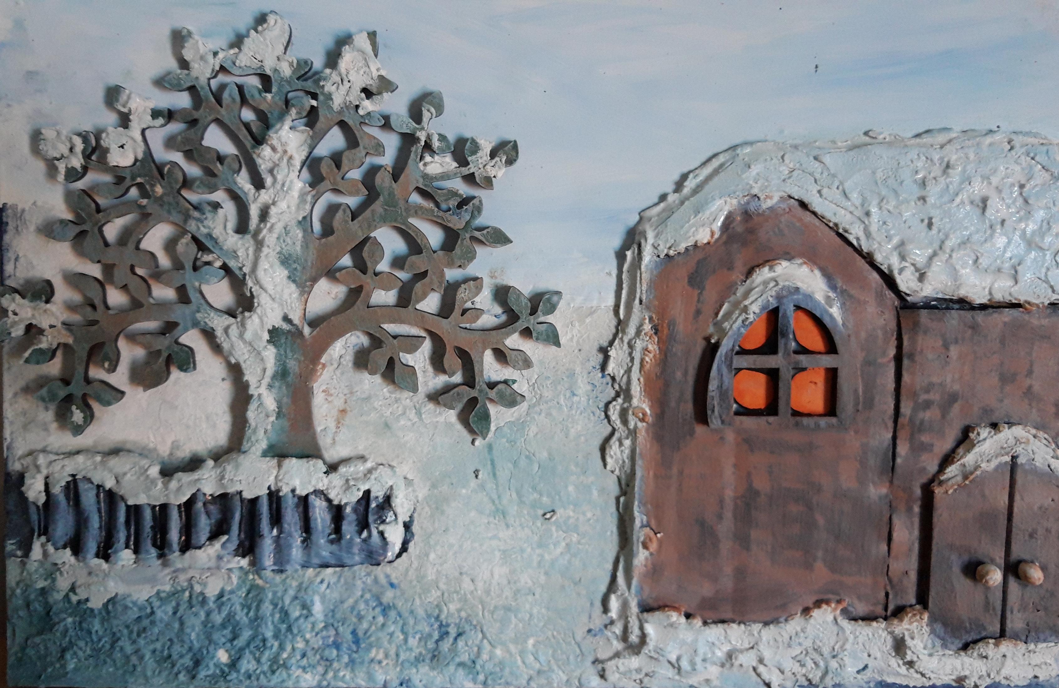 Powertex snow scene by Jill Cullum