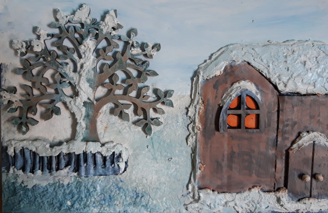 Powertex snow scene by Jill Cullum