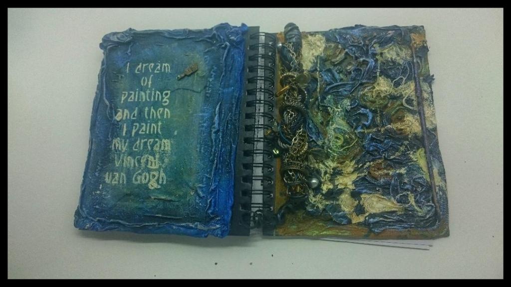 front and back of my van gogh powertex journal