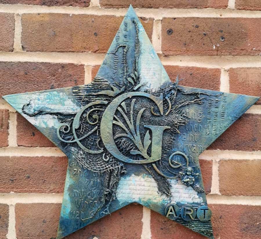 Powertex UK Secret Art Box August Initial Star Plaque. Initial Canvas by Gill Goldsmith