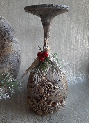 Christmas cherub candle holder with Powertex by Jinny Holt