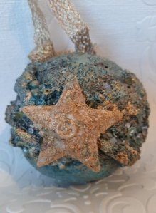 Powertex textured Christmas Bauble by Jinny Holt