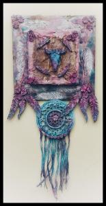 Cow skull dream catcher by Donna Mcghie with Powertex acrylic inks