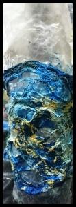powertex blue paperdecoration wrapped around bottle