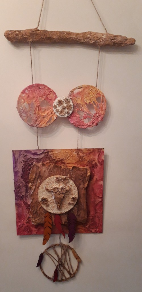 Powertex wall art with cow skull and flowers