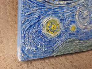 Starry night Powertex canvas by Jinny Holt