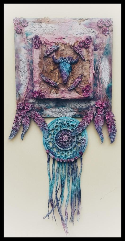 Powertex dream catcher with feathers by Donna Mcghie