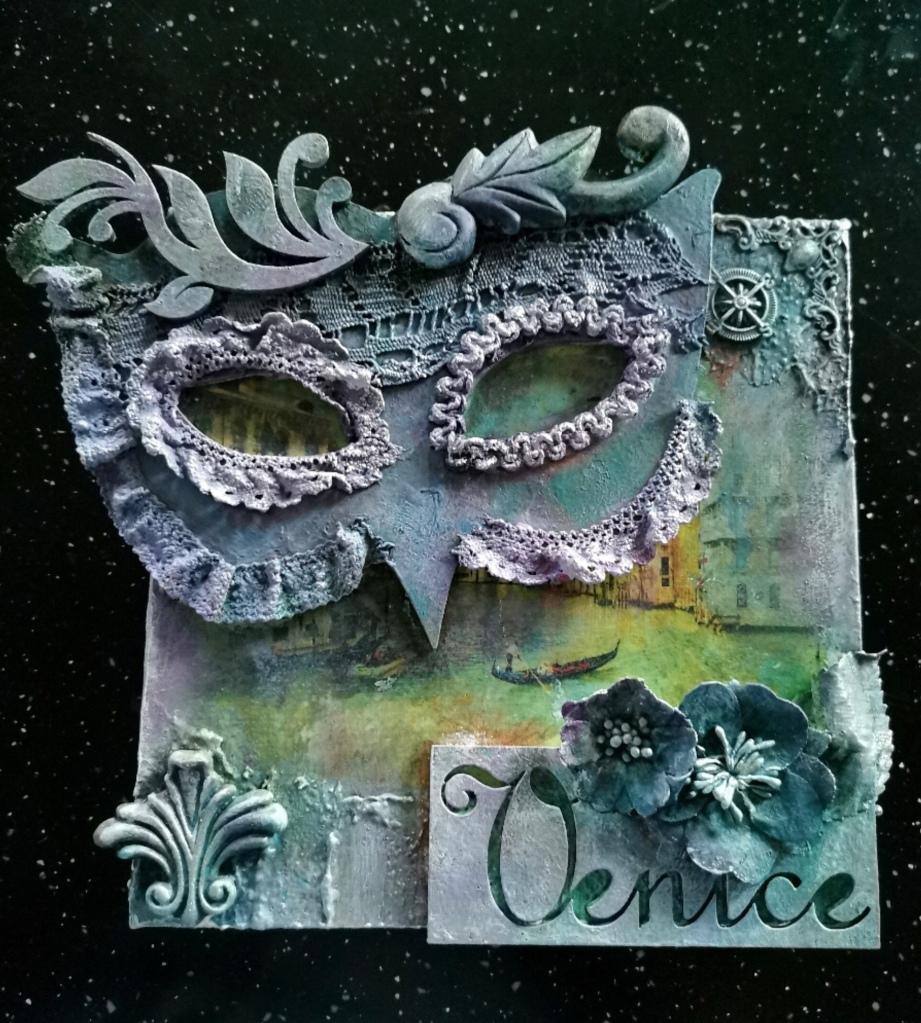 Powertex Venetian carnival canvas by gill goldsmith