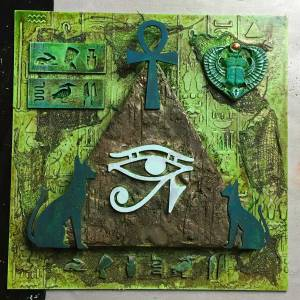 Increase the contrast with a light card circle coated with Powertex. Powertex Egyptian art by Kore Sage