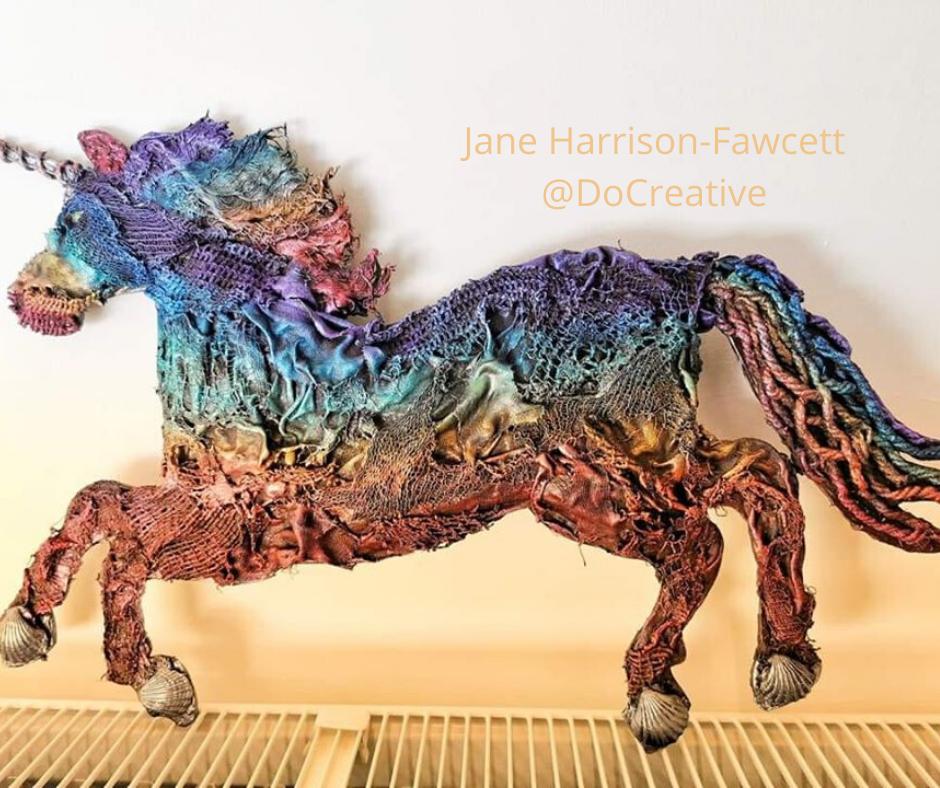 Jane Harrison Fawcett Powertex Rainbow Unicorn in Powertex