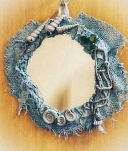 Mirror frame with Powertex and fossil ammonite embellishments by Donna Mcghie