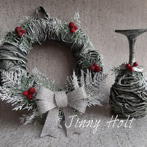 Powertex wreath and candle holder by Jinny Holt
