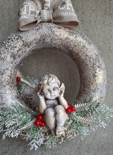Powertex Cherub Wreath for Christmas