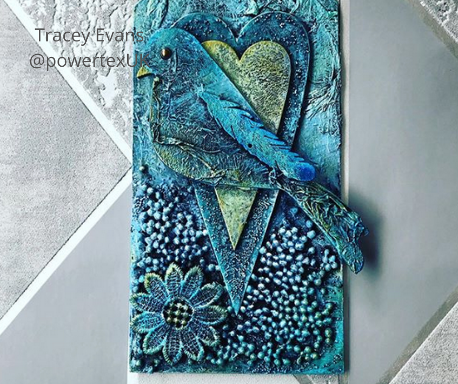 Blue bird tage with Powertex by Tracey Evans