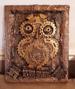 Powertex mechanical owl by Julie Emery