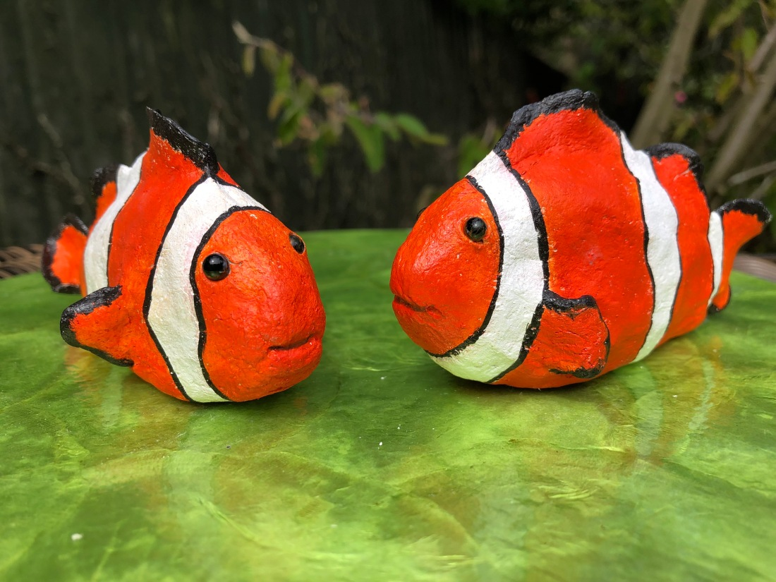 Powertex Clownfish sculptures by Annette Smyth